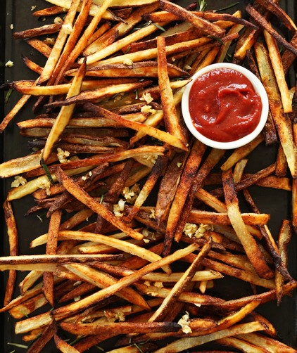 Tray of our crispy Oven Baked Matchstick Fries recipe