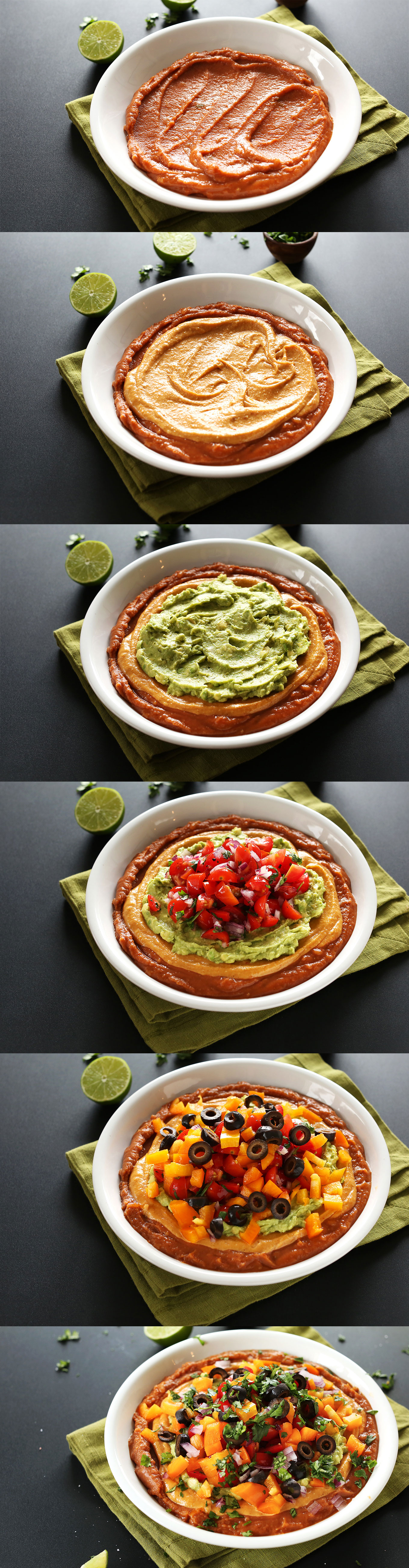 Series of photos showing each of the layers in our 7-Layer Vegan Mexican Dip recipe