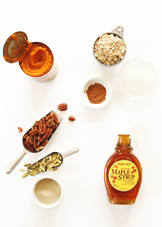 Pumpkin puree, maple syrup, pecans, and other ingredients for making Pumpkin Maple Pecan Granola
