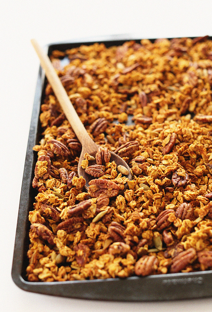 Baking sheet filled with our naturally-sweetened Pumpkin Pecan Granola