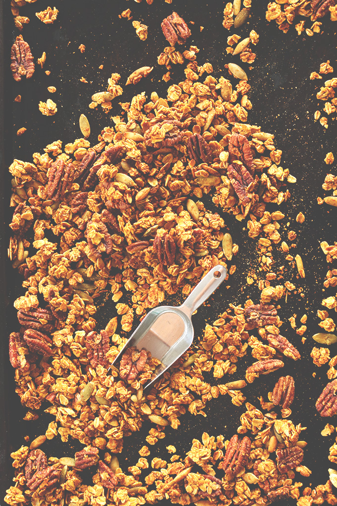 Using a scooper to grab a serving of our simple Pumpkin Pecan Granola recipe