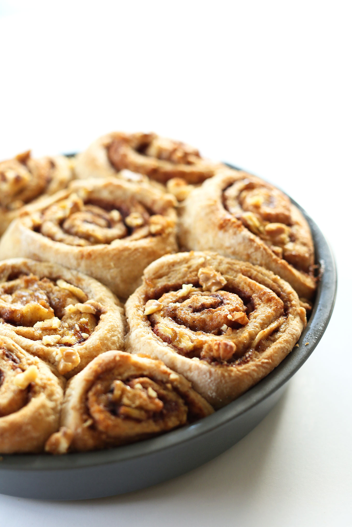 Pan of our amazing 1-Bowl Vegan Banana Bread Cinnamon Rolls recipe