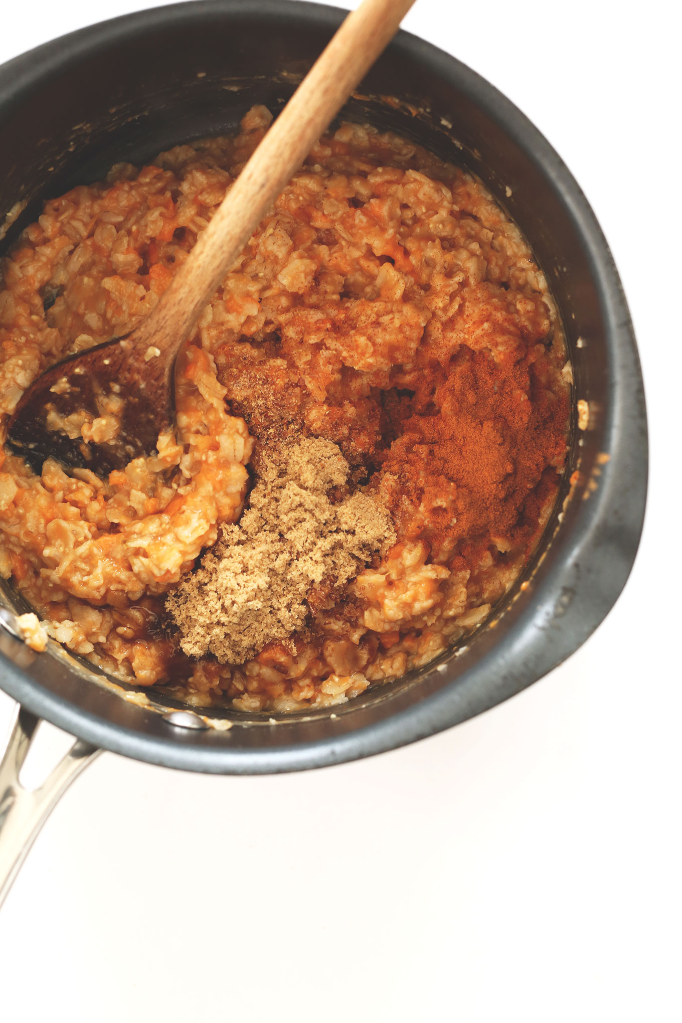Saucepan filled with a batch of our Sweet Potato Pie Oats recipe