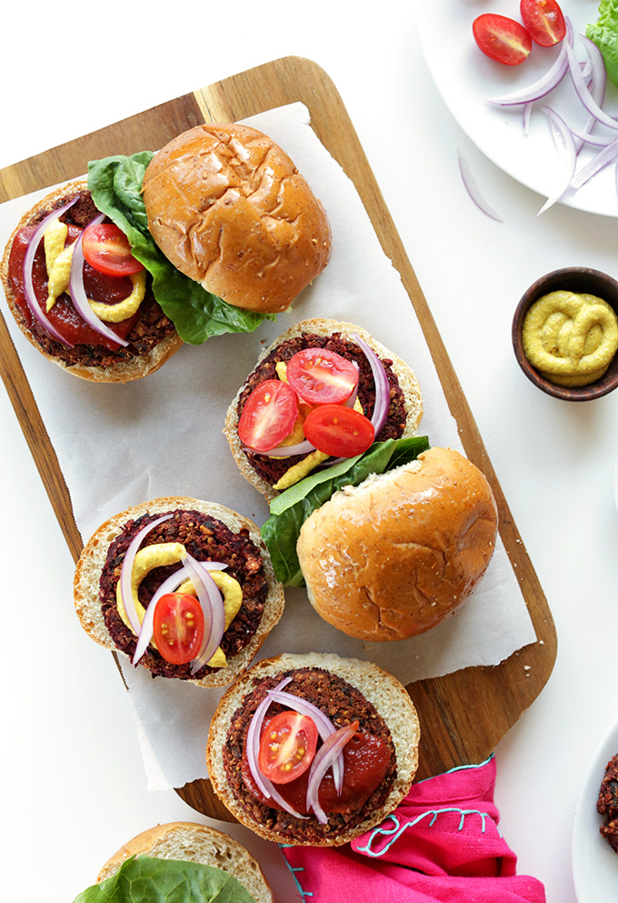 VEGAN Black Bean Beet Burgers! Tender and moist on the inside, slightly crisp on the outside with TONS of flavor and nutrition #vegan #glutenfree #minimalistbaker