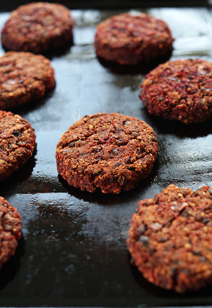 VEGAN Black Bean Beet Burgers! Tender and moist on the inside, slightly crisp on the outside with TONS of flavor and nutrition! #vegan #glutenfree #minimalistbaker