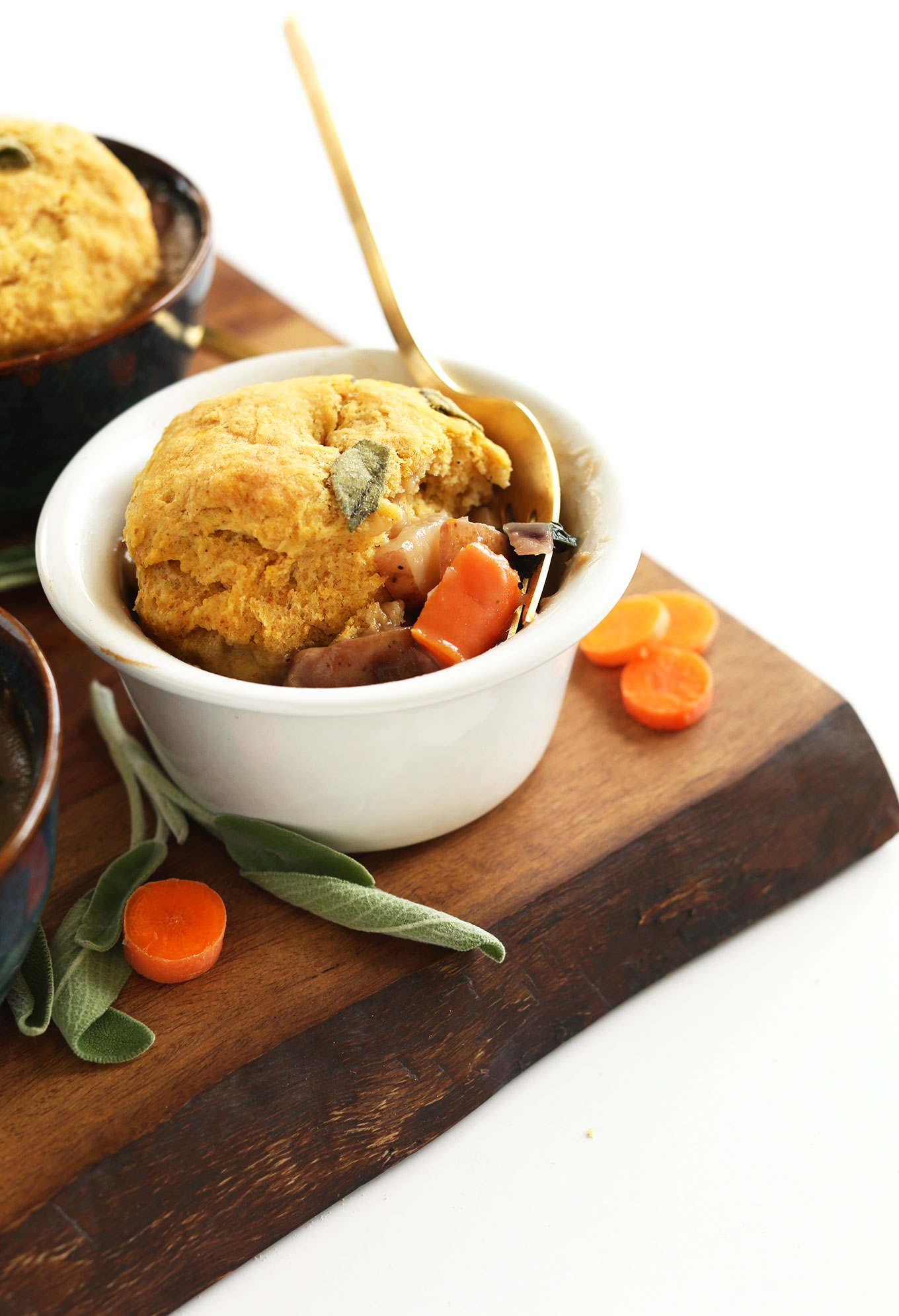 Bowls of our veggie-loaded Vegan Fall Pot Pies