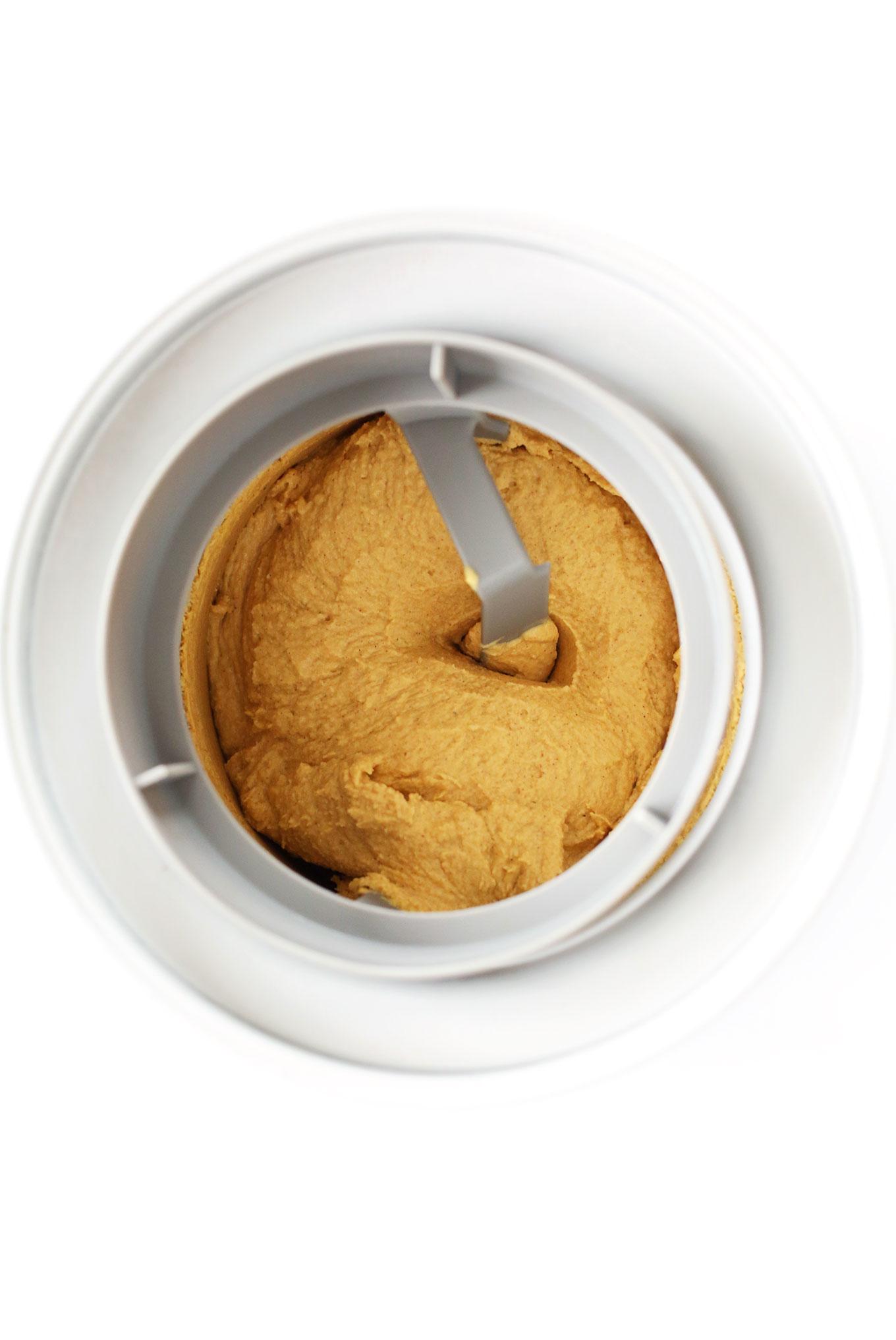 Using an ice cream maker to make gluten-free vegan Pumpkin Pie Ice Cream