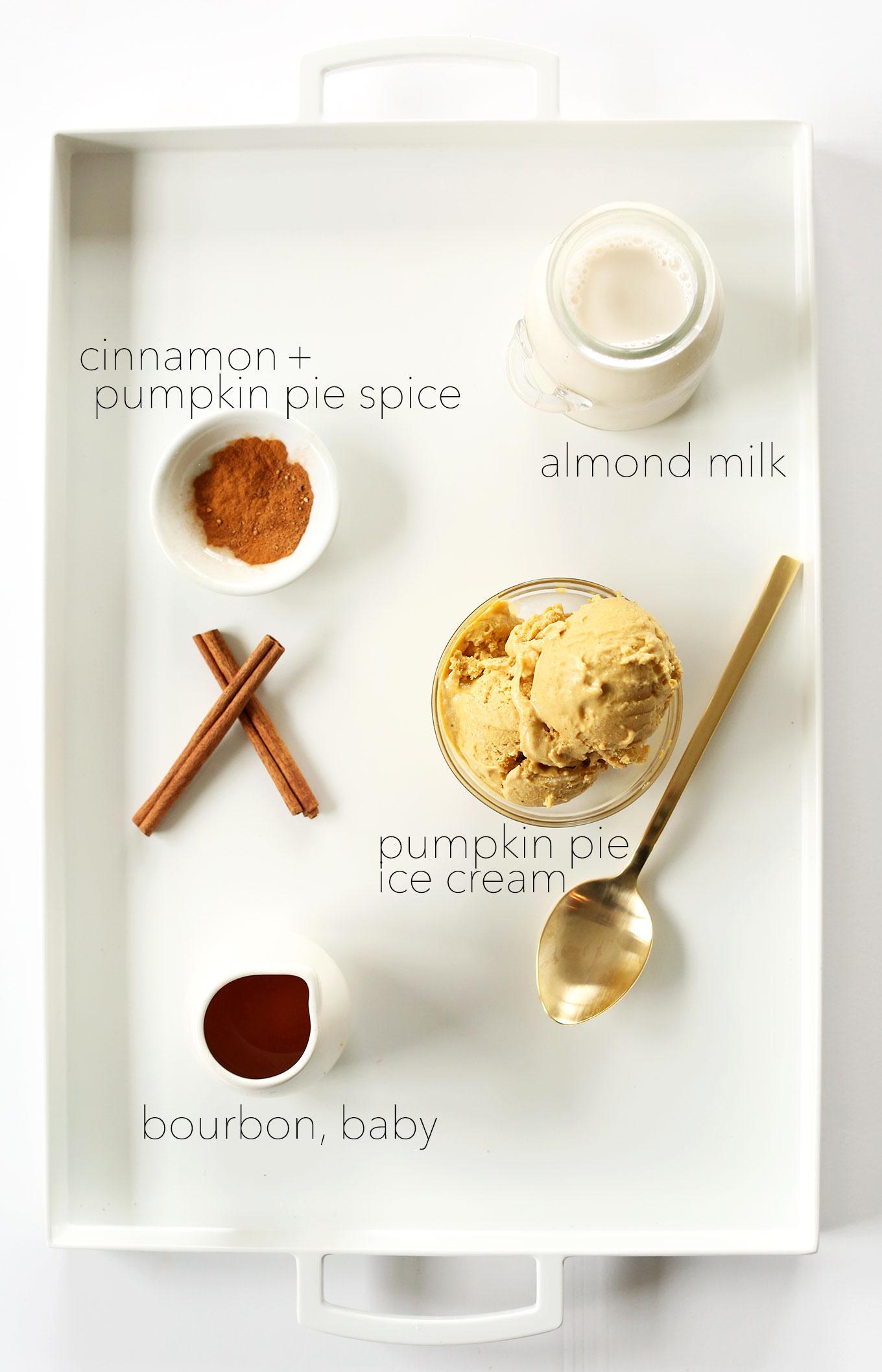 Tray of ingredients for making our Pumpkin Bourbon Milkshake recipe