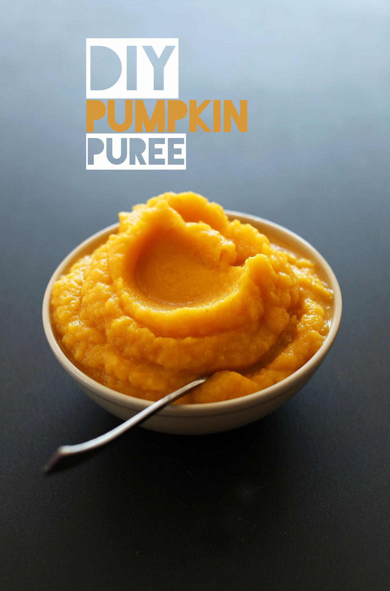 Bowl of our DIY Pumpkin Puree