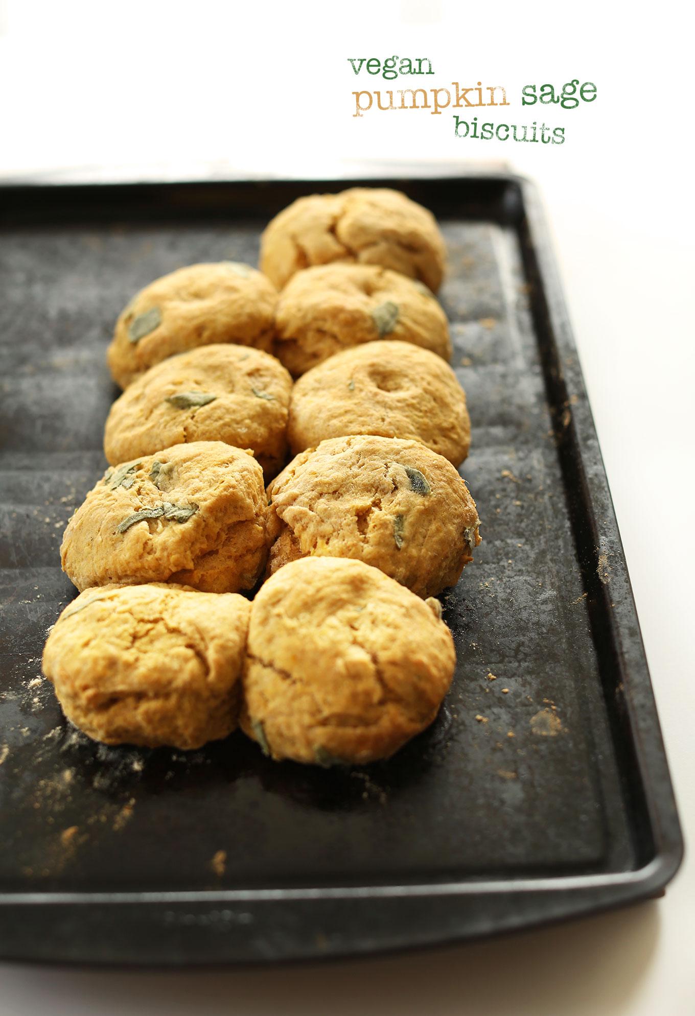 Baking sheet with freshly baked Pumpkin Sage Biscuits