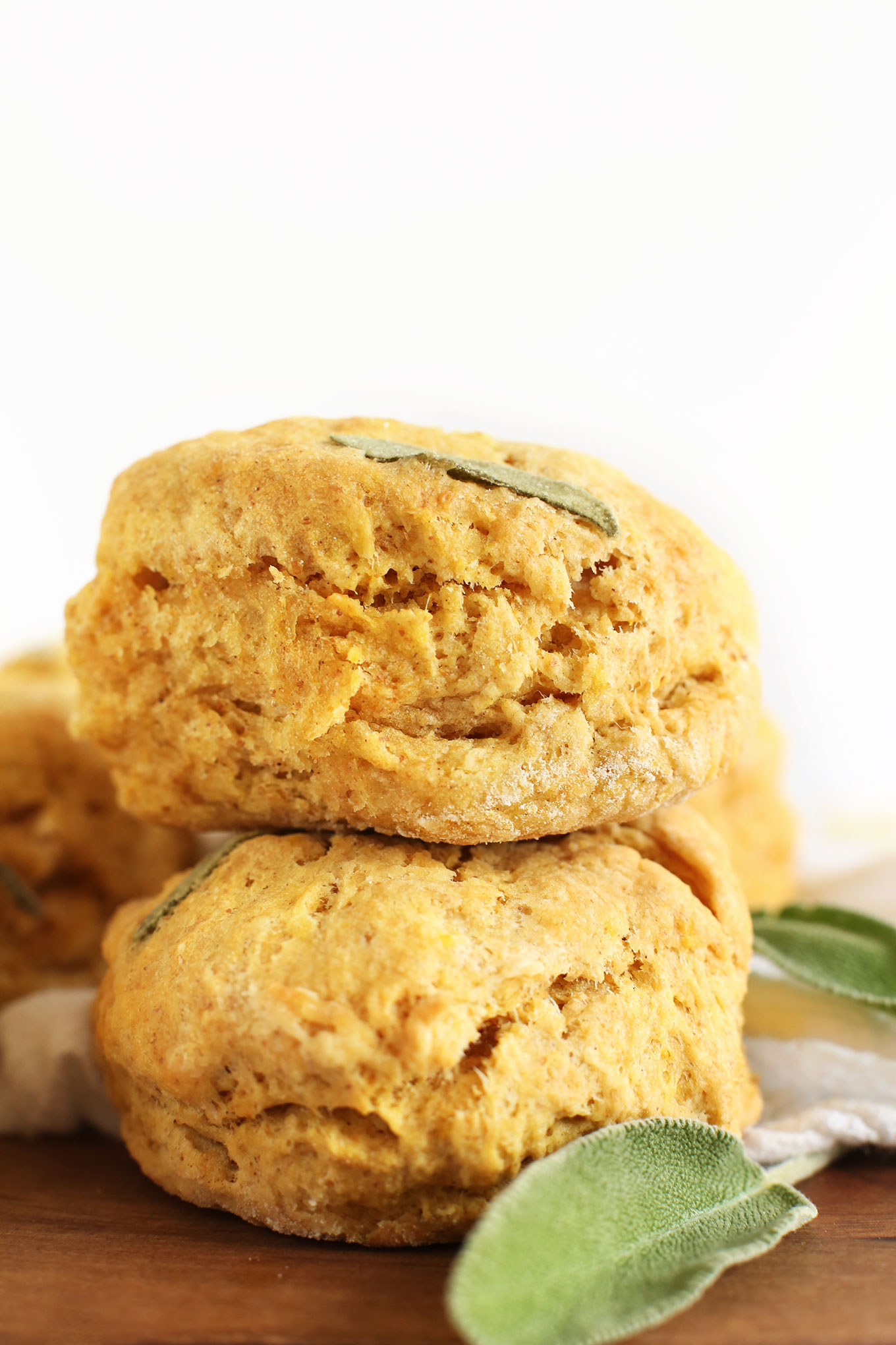 Stack of our delicious homemade Vegan Pumpkin Sage Muffins
