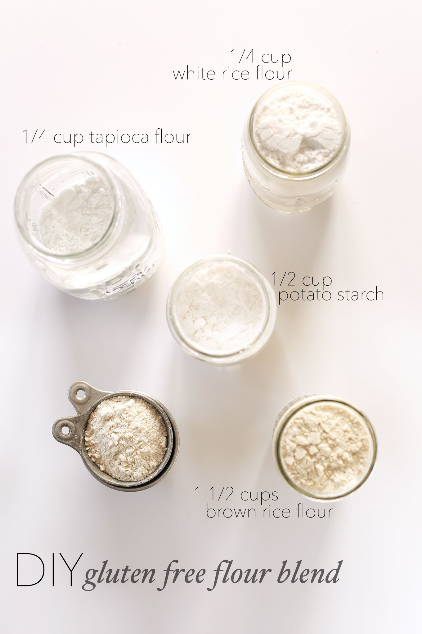 Jars of tapioca flour, white rice flour, potato starch, and brown rice flour for making our DIY Gluten-Free Flour Blend