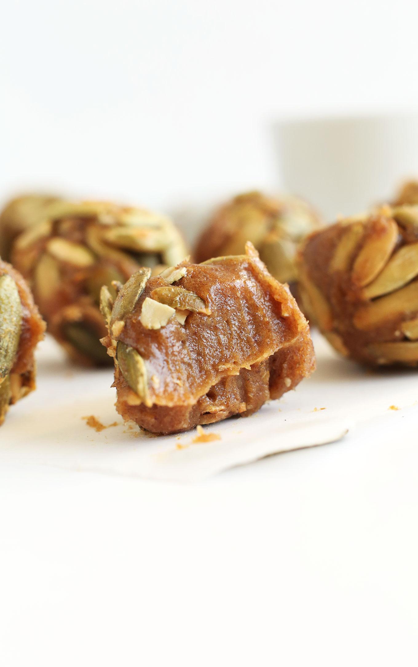 Showing the inside of a date-sweetened vegan Pumpkin Caramel
