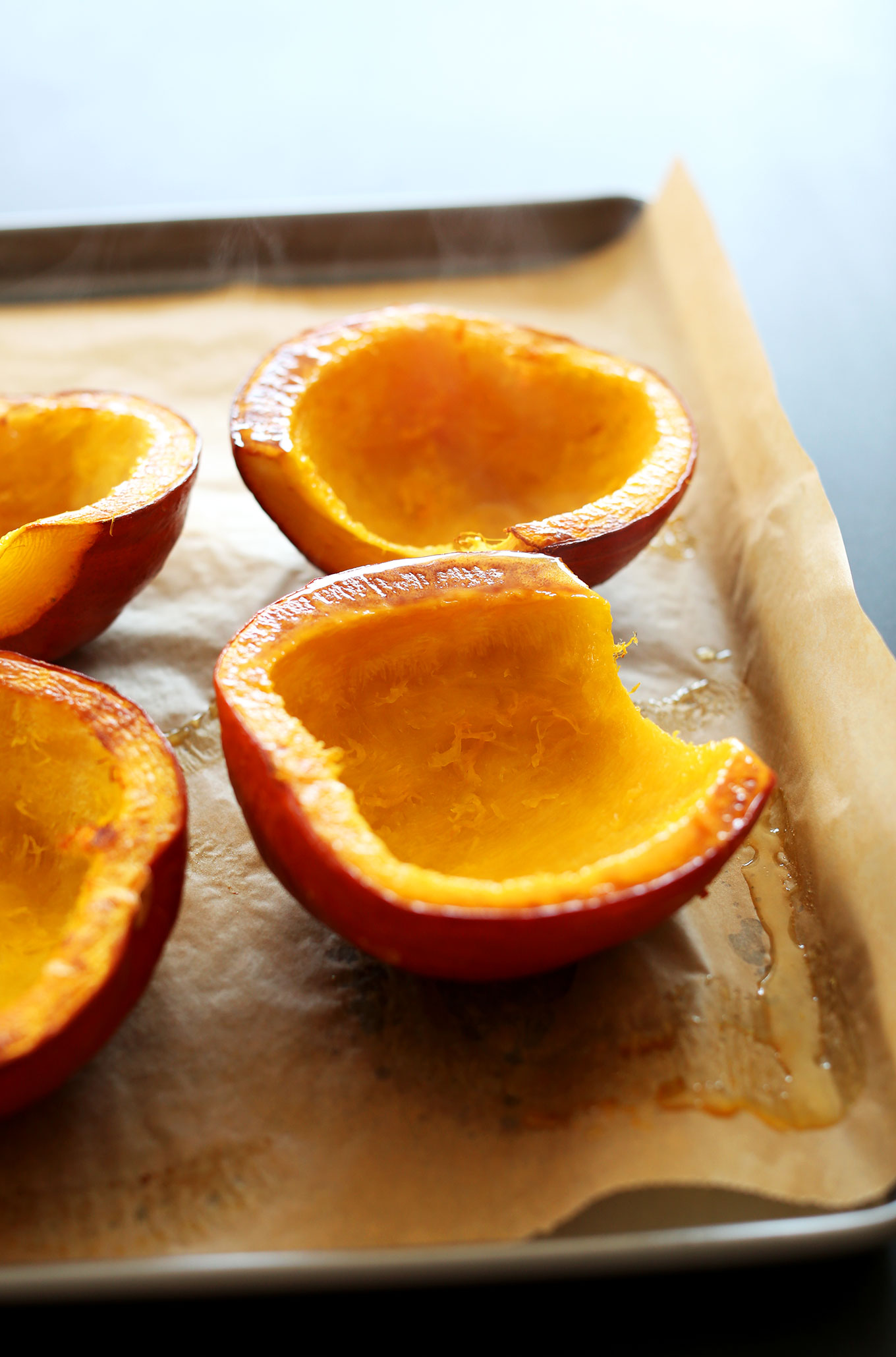 Face up freshly roasted sugar pumpkin for making homemade soup
