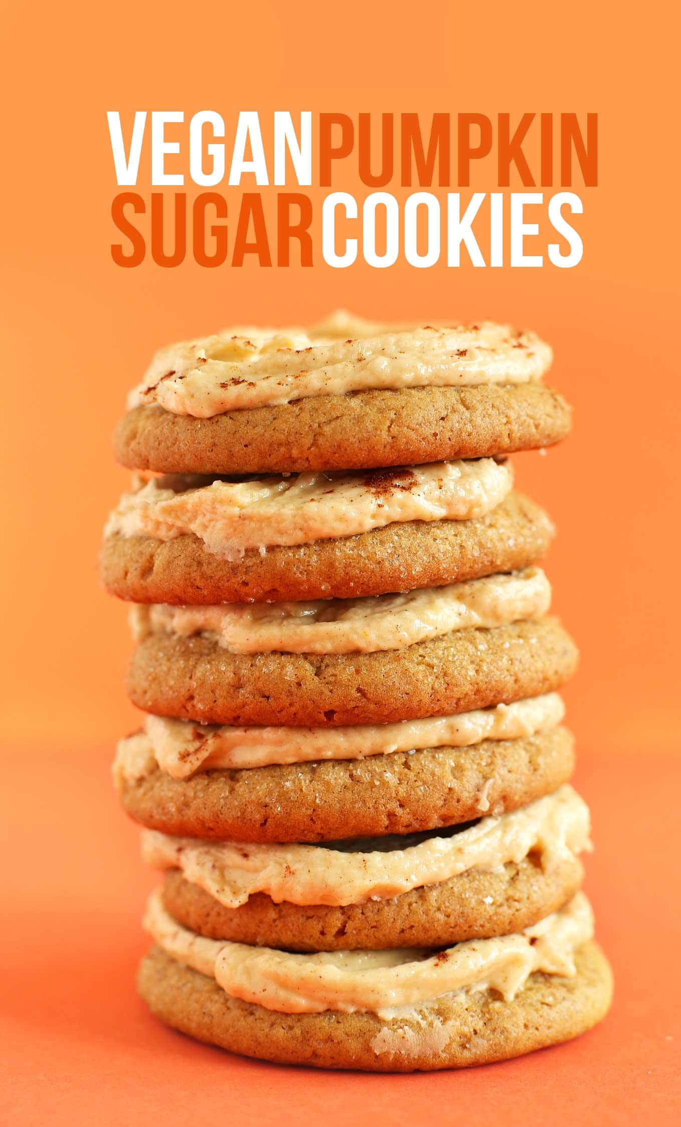 Stack of our 1-Bowl Vegan Pumpkin Sugar Cookies