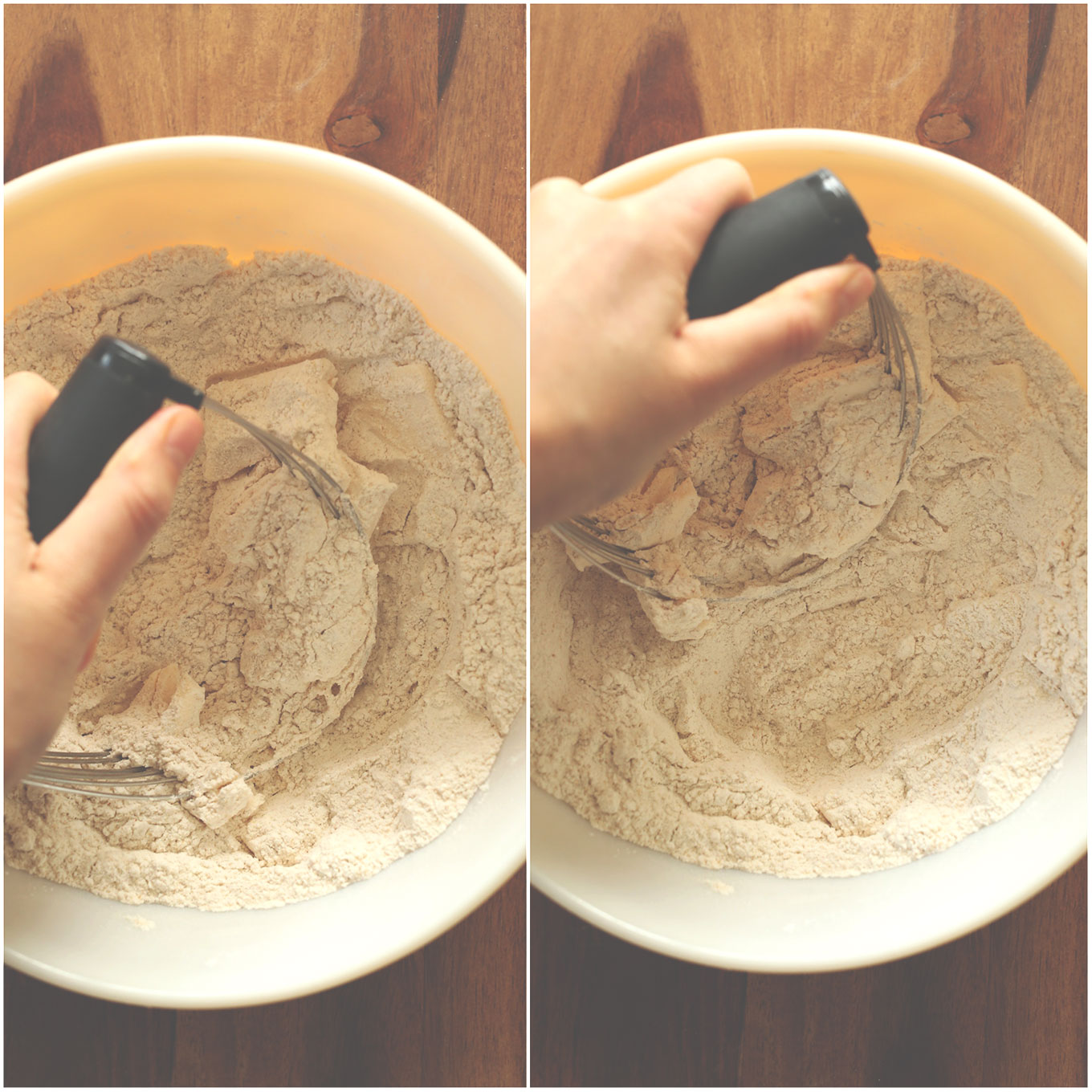 Using a pastry cutter to mix butter into flour for Pumpkin Sage Biscuits