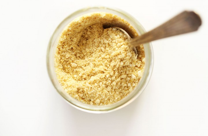 Jar of homemade Vegan Parmesan Cheese