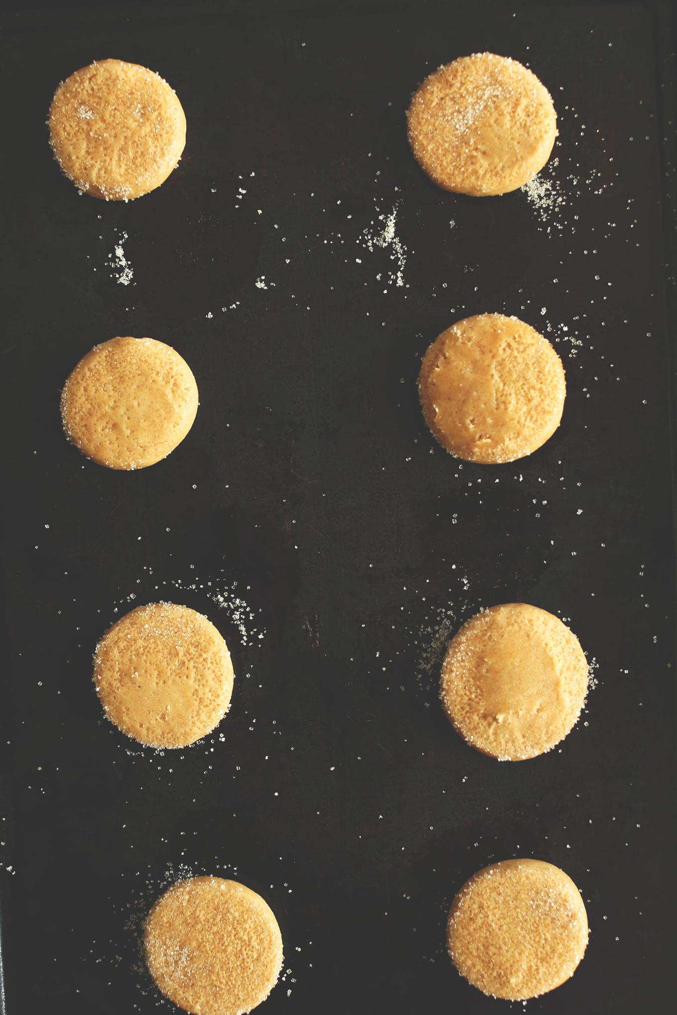 Vegan Pumpkin Sugar Cookies on a baking sheet