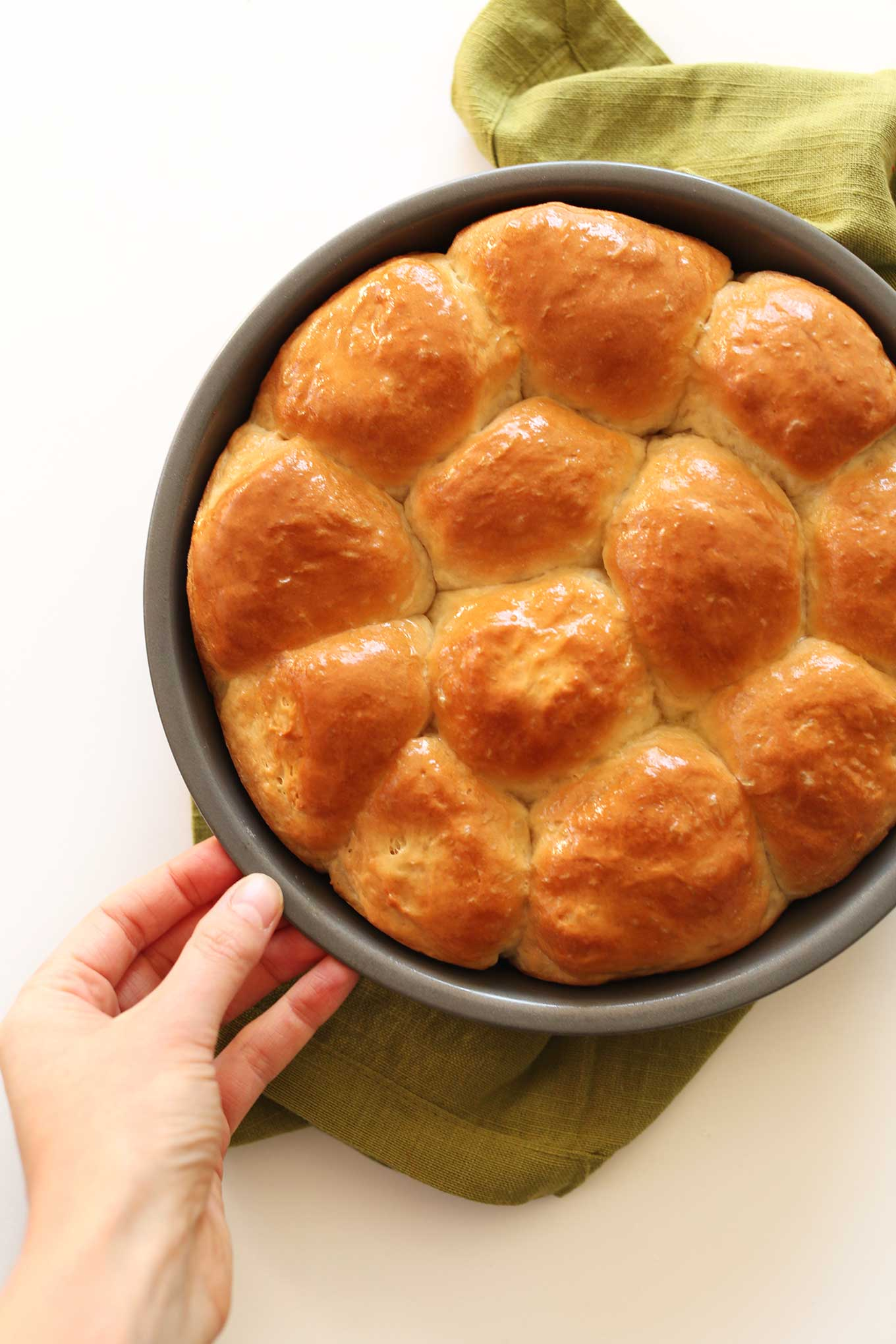 Pan of fluffy and buttery Vegan Dinner Rolls