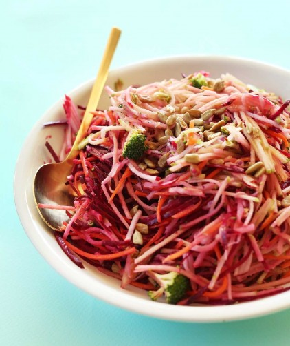 Big bowl of amazing Fall Slaw with tangy dressing