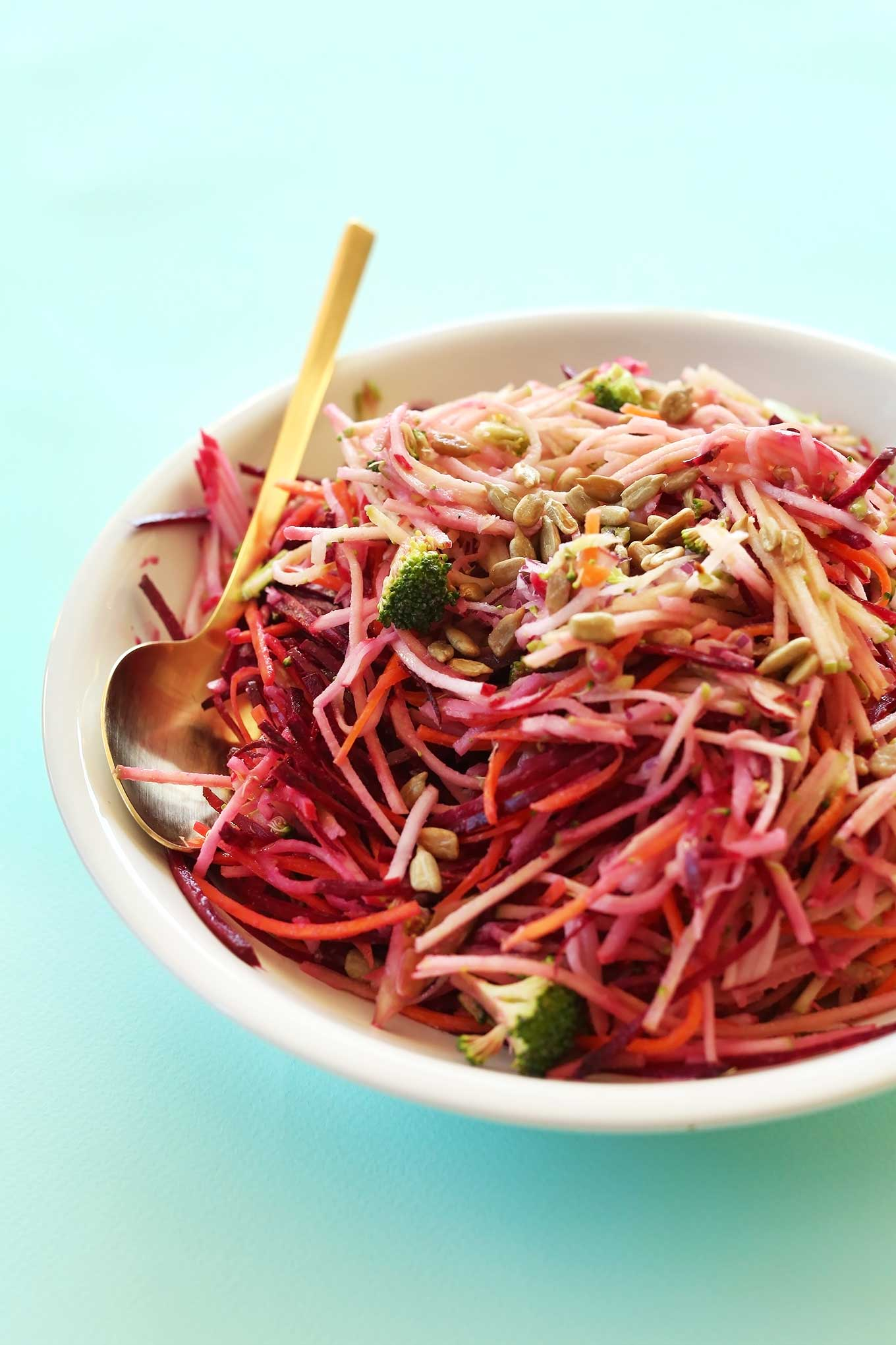 AMAZING Fall Slaw loaded with veggies and dressed in a simple tangy dressing #vegan #glutenfree #minimalistbaker