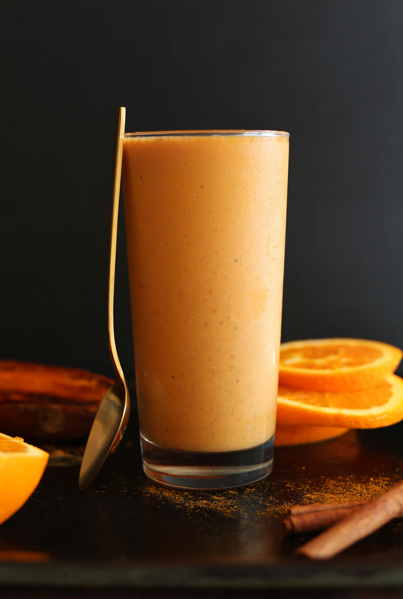 Tall glass of our creamy delicious Sweet Potato Spice Smoothie