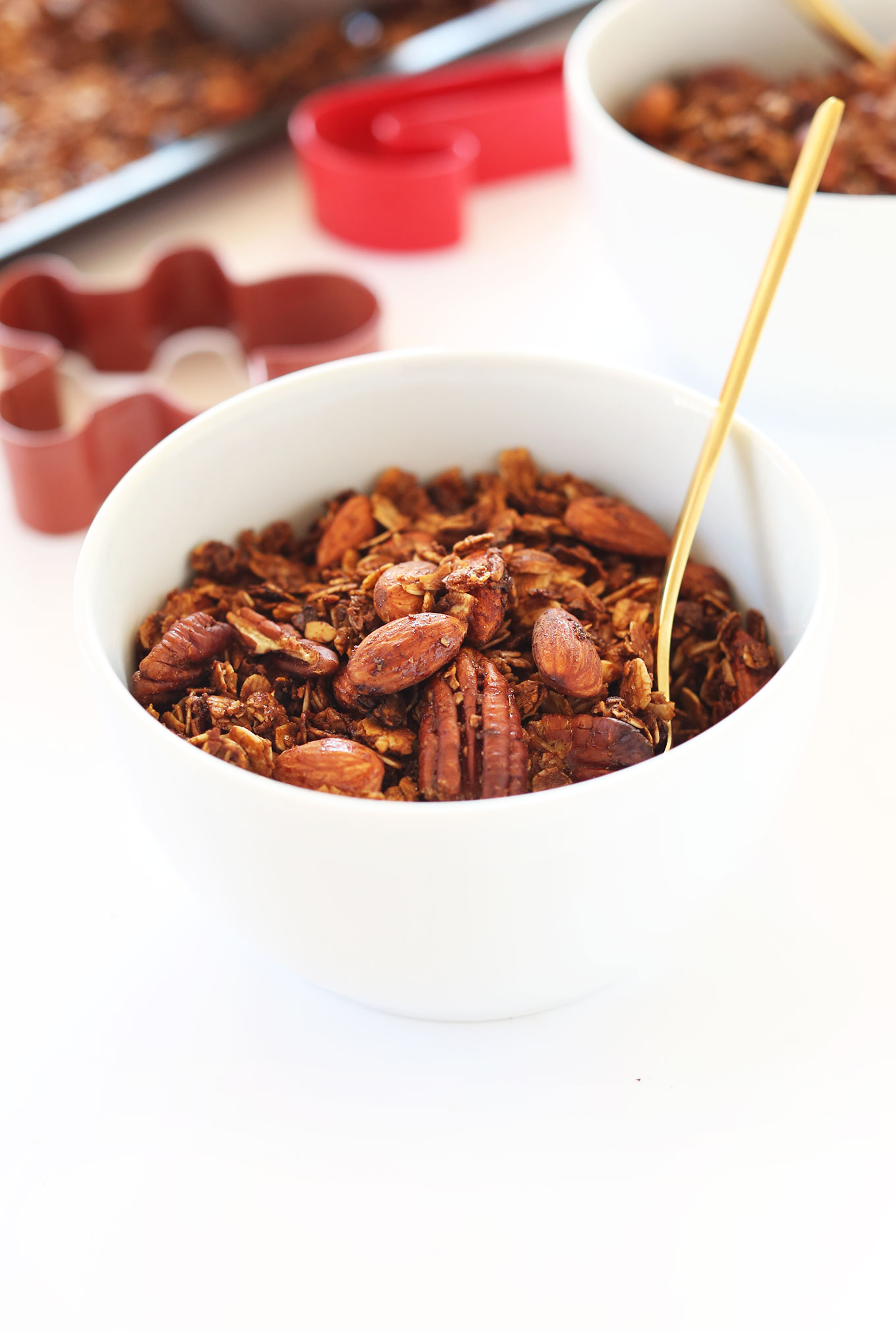 Bowl of our delicious vegan Gingerbread Granola recipe