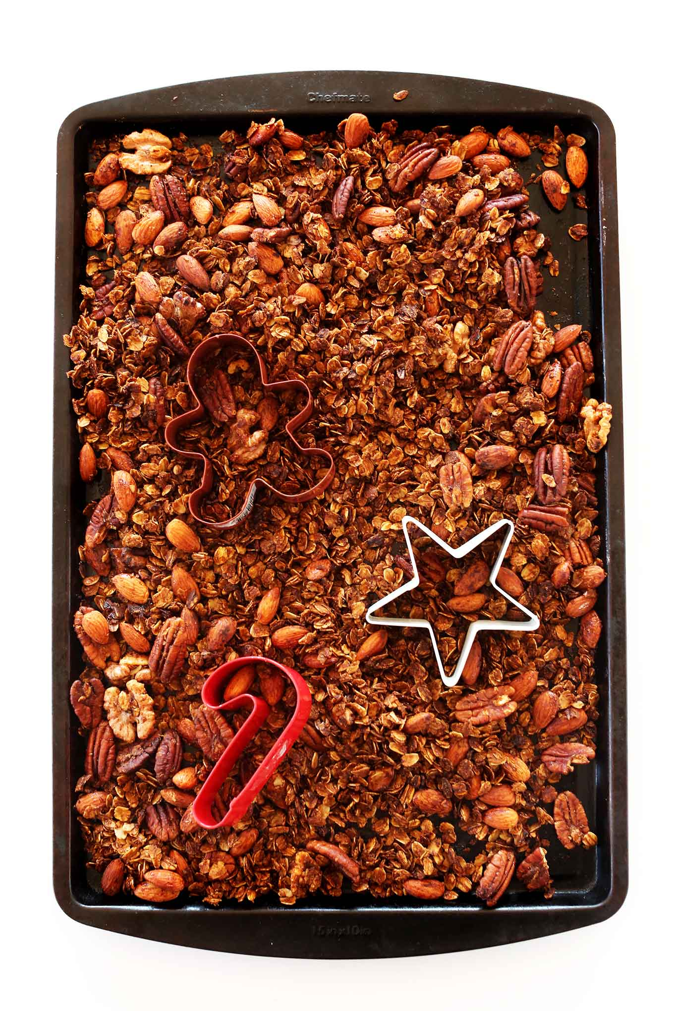 Tray of our crunchy and sweet Gingerbread Granola recipe
