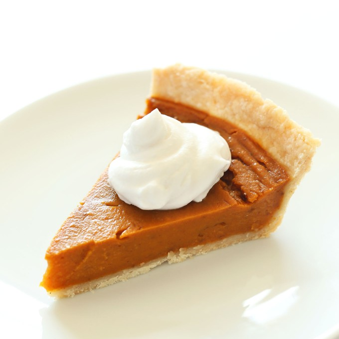 Slice of our easy vegan gluten-free pumpkin pie