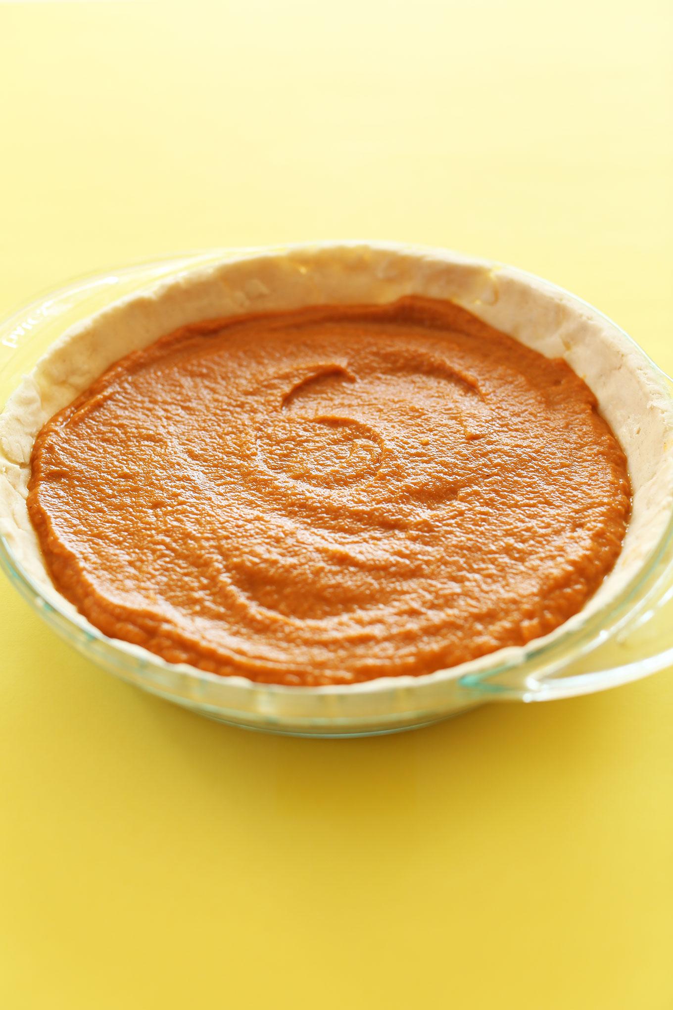 Vegan Gluten-Free Pumpkin Pie ready to go in the oven