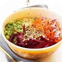 Big bowl of our Simple Fall Slaw with sunflower seeds