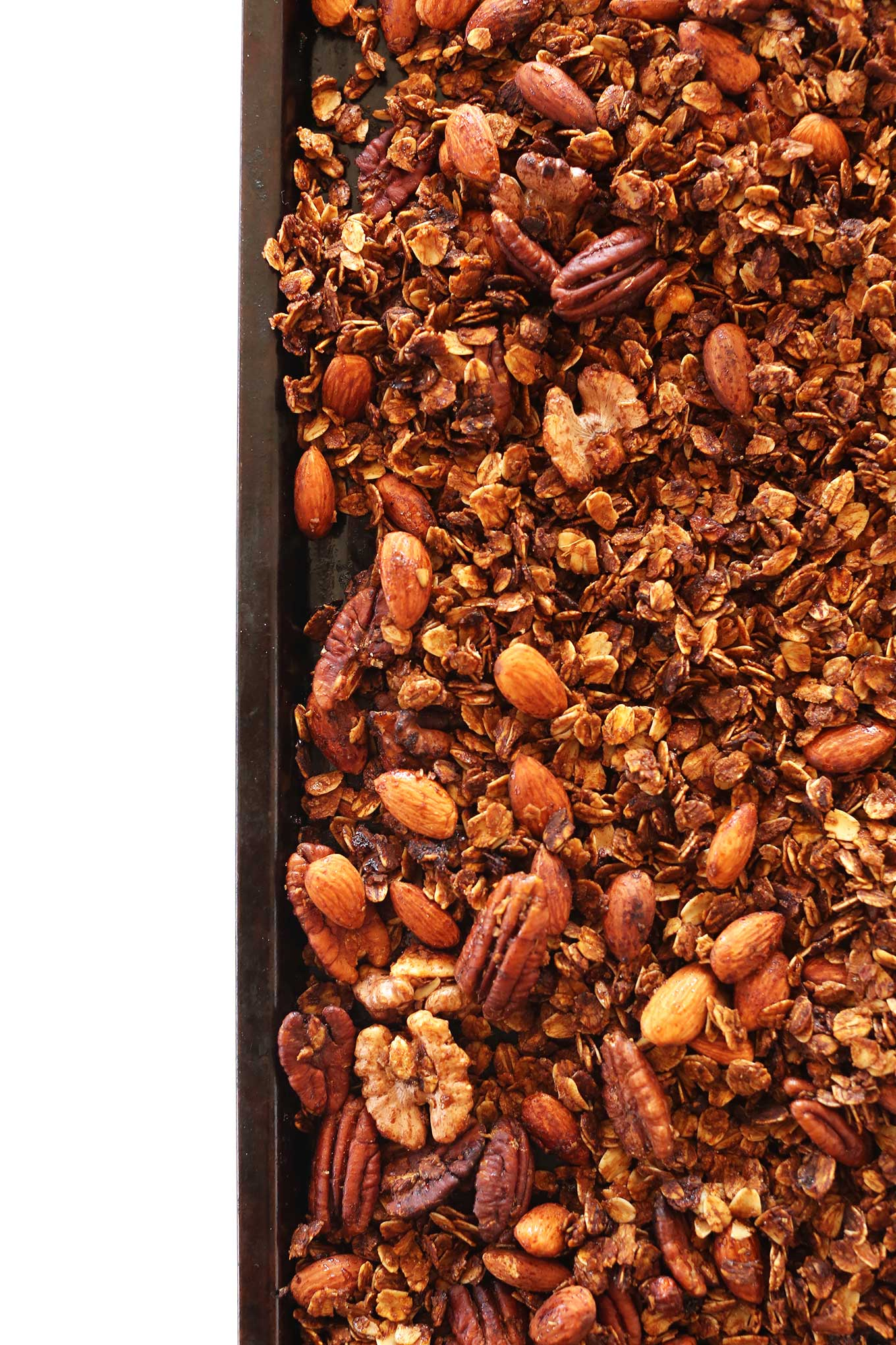 Baking sheet filled with our gluten-free vegan Gingerbread Granola recipe