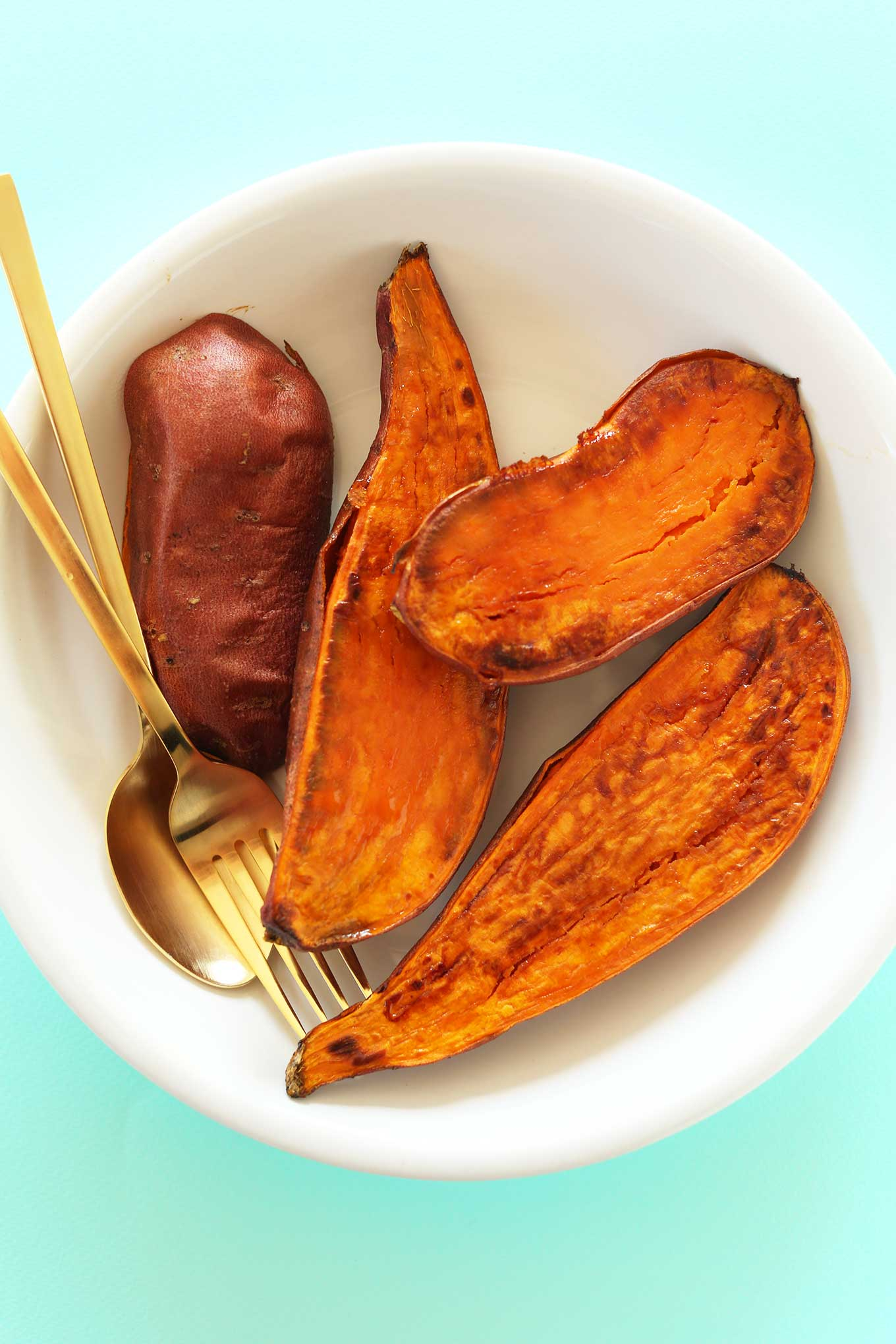 Bowl of roasted sweet potatoes for a delicious gluten-free vegan Sweet Potato Smoothie