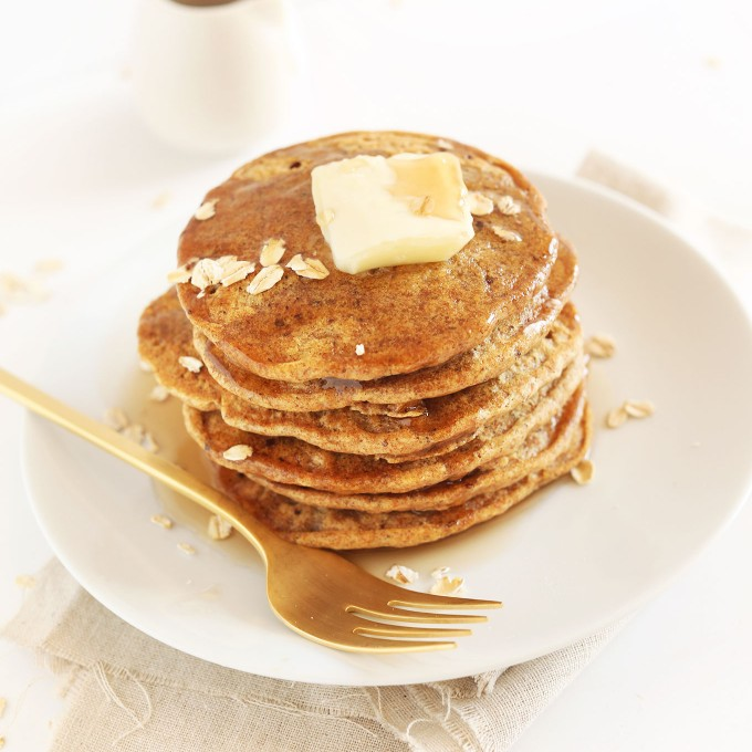 Big pile of Healthy Whole Grain Pancakes for a vegan breakfast