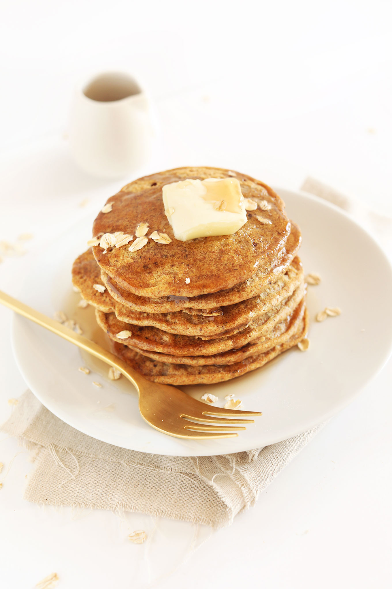 Stack of delicious and simple Healthy Whole Grain Vegan Pancakes