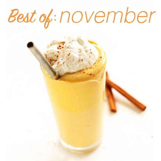 Glass of our Bourbon Pumpkin Milkshake for our Best of November post