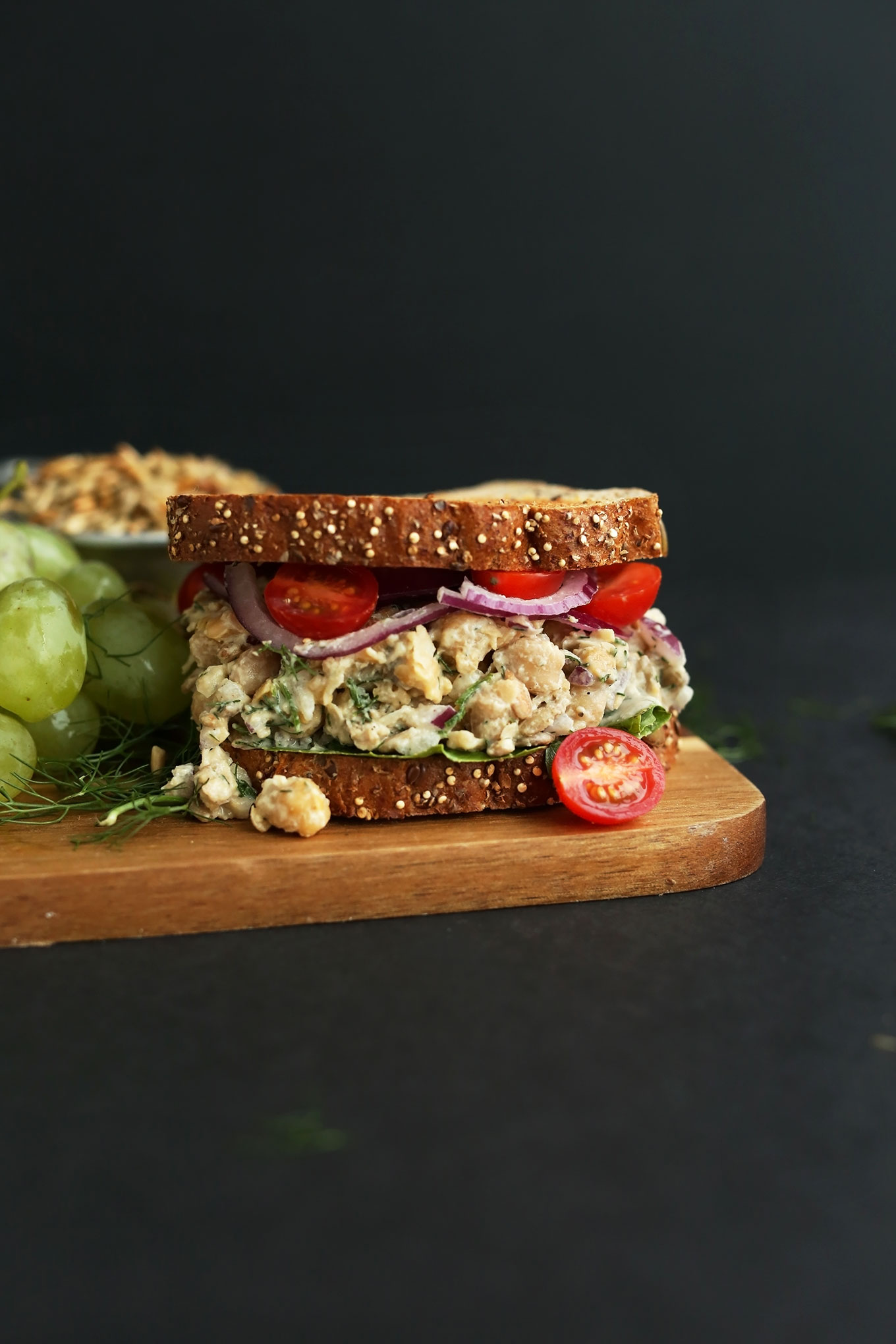 Simple vegan lunch of our Chickpea Sunflower Salad Sandwich recipe