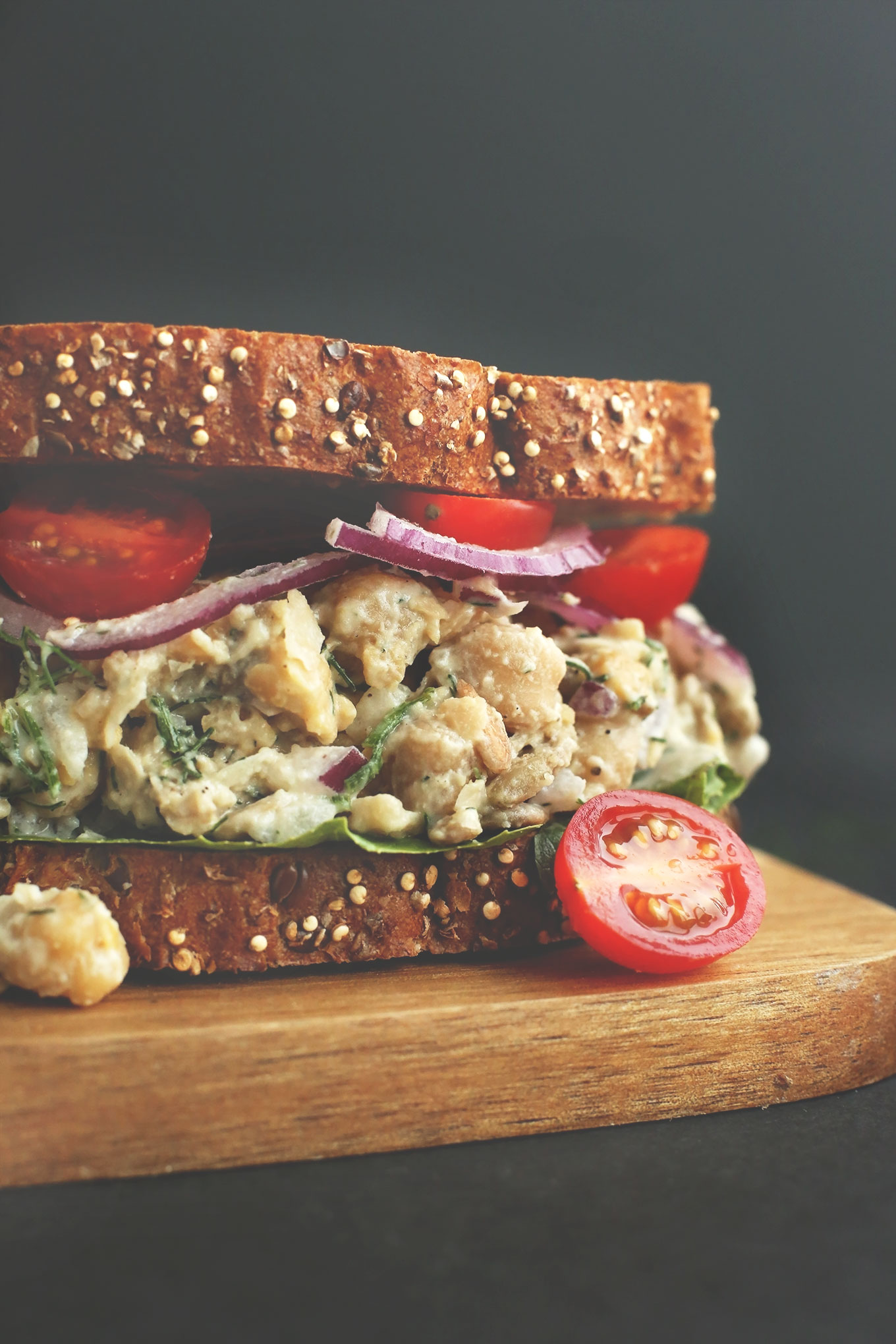 Close up shot of a vegan Chickpea Sunflower Salad Sandwich
