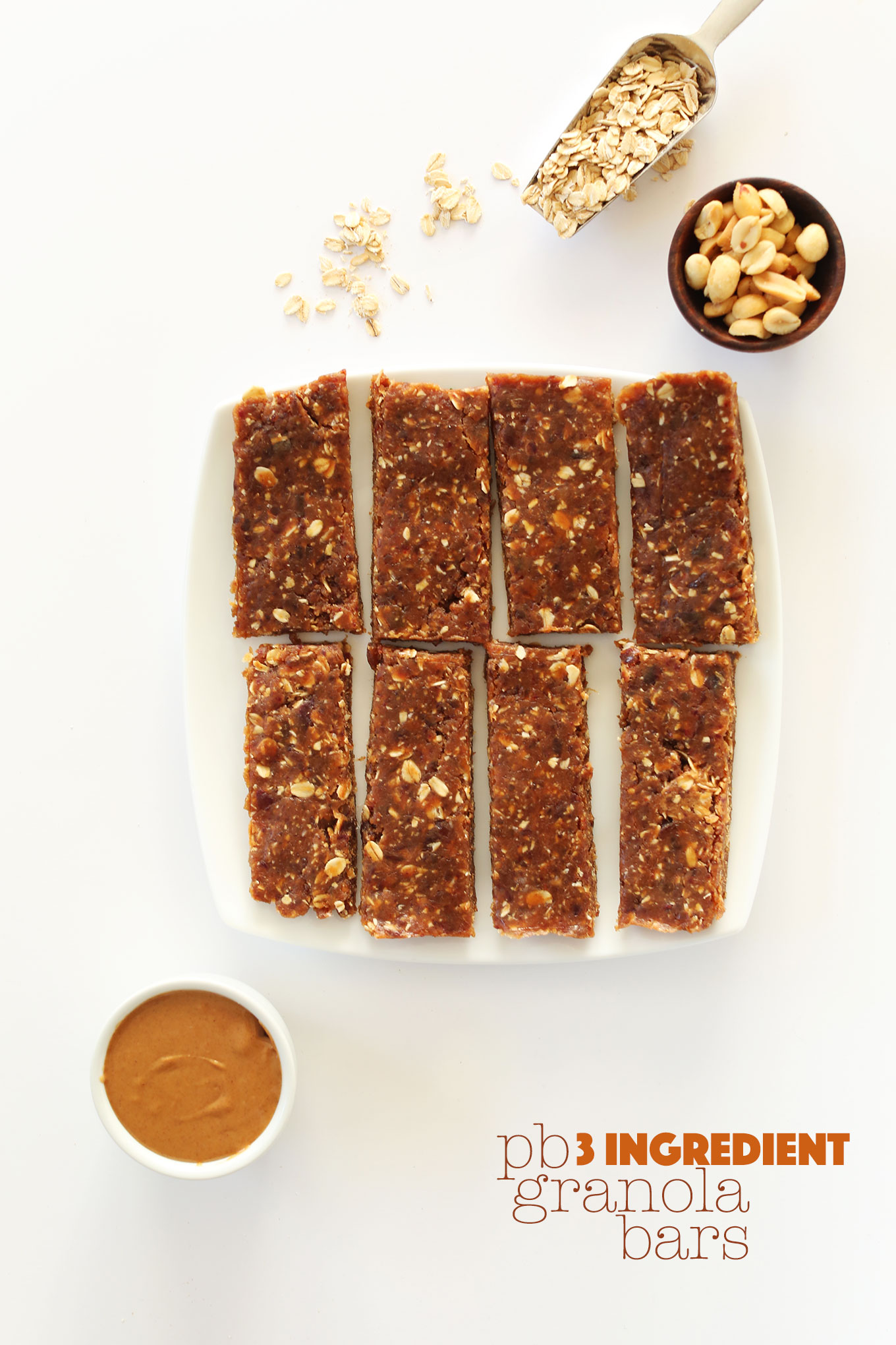 Plate of our amazing 3-ingredient gluten-free Peanut Butter Granola Bars