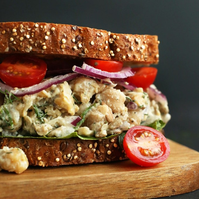 Delicious Vegan Chickpea Sandwich with fresh vegetables