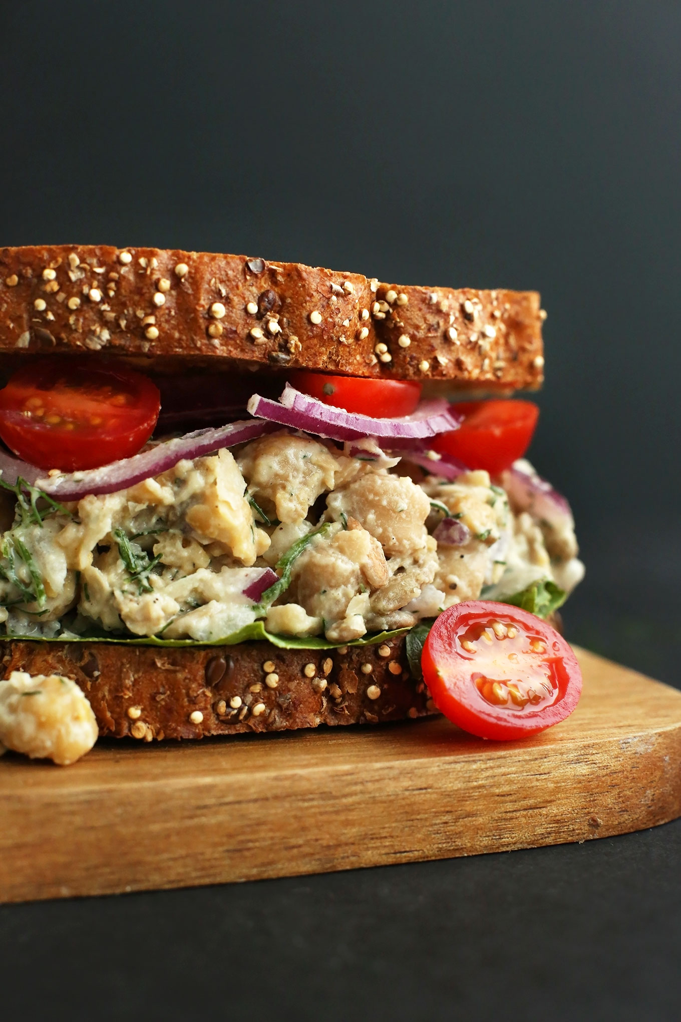 Chickpea Sunflower Sandwich for a simple and healthy vegan lunch