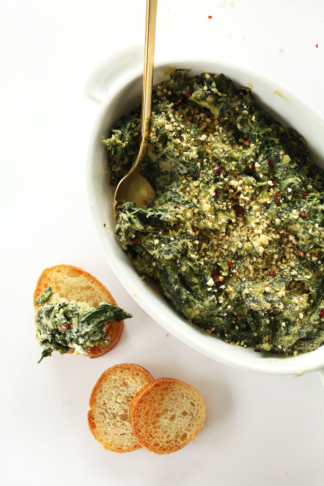 AMAZING Creamy Kale and Spinach Dip - completely dairy- and gluten-free and SO cheesy and delicious! #vegan #GF #minimalistbaker