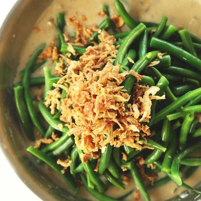 Skillet filled with creamy Vegan Green Bean Casserole
