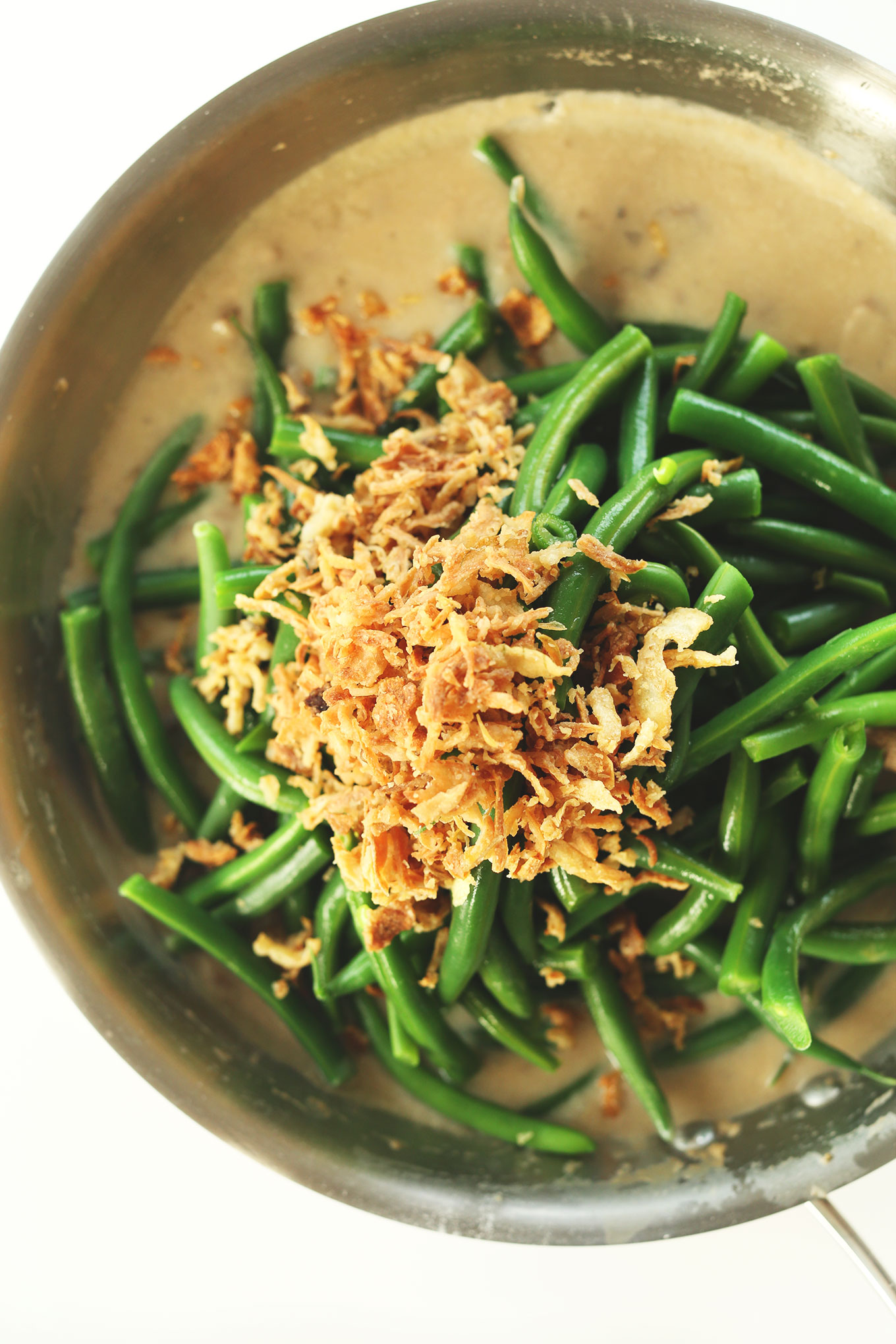 Pan filled with our vegan Green Bean Casserole recipe