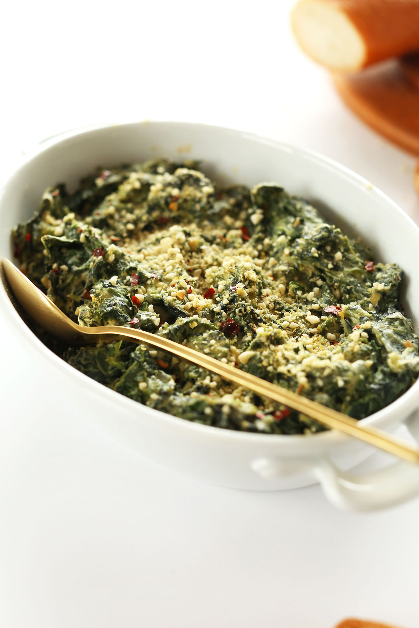 Dish of the perfect healthy appetizer of Kale and Spinach Dip