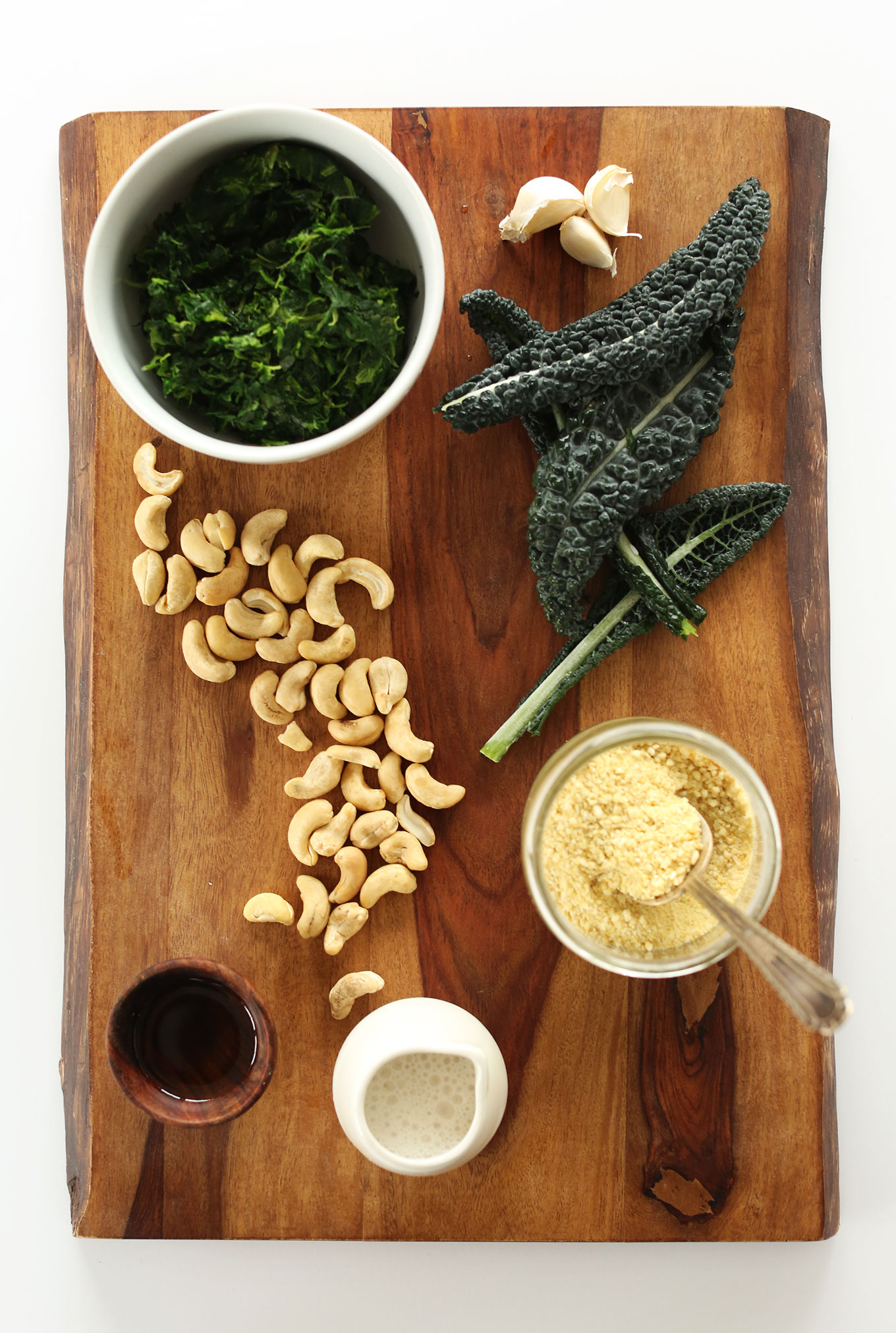Ingredients for making our Kale and Spinach Dip for a healthy vegan appetizer