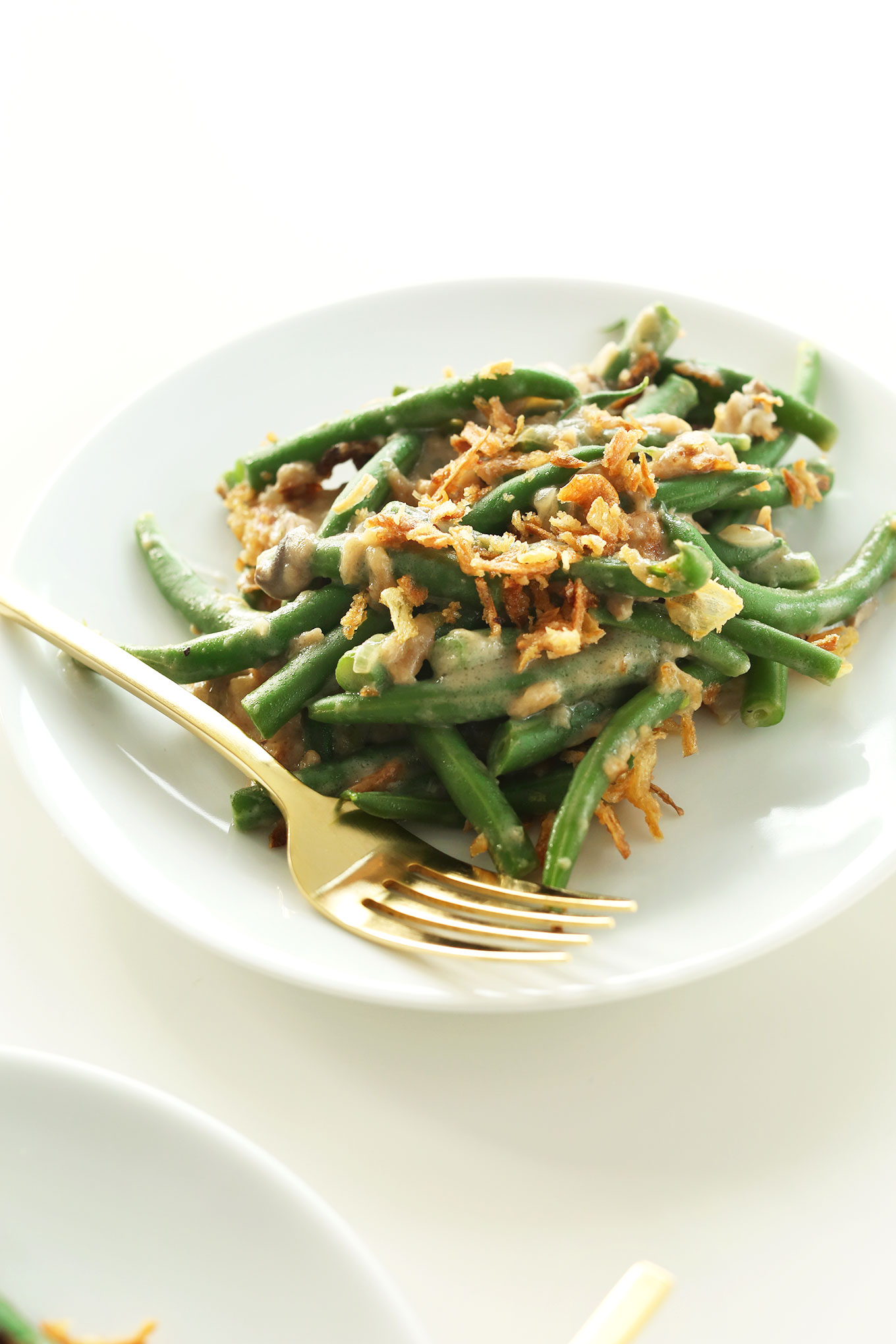 Plate of our creamy and delicious Vegan Green Bean Casserole recipe
