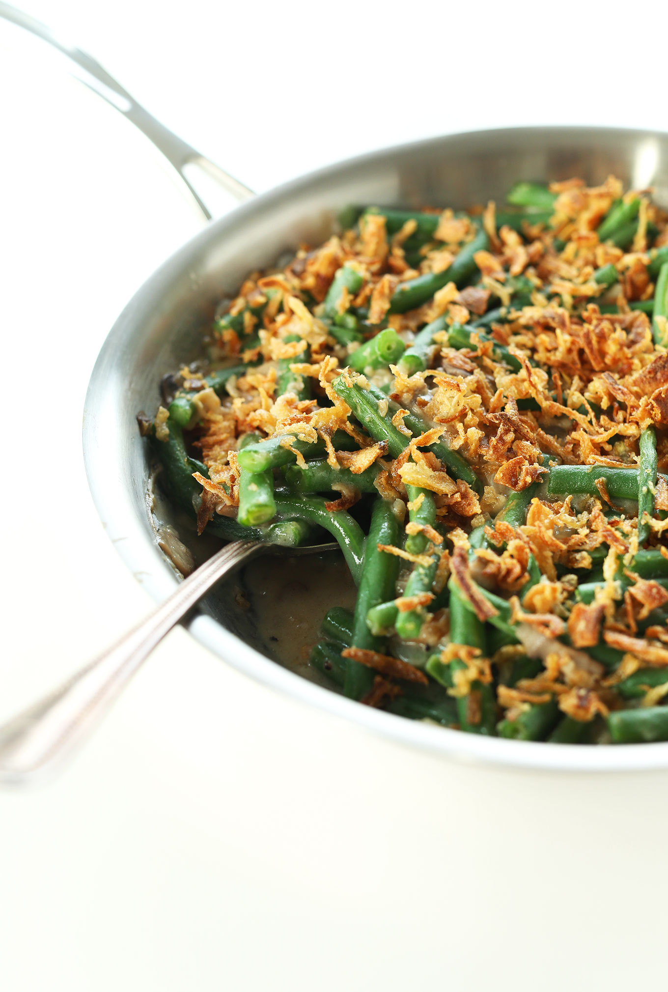 Freshly cooked creamy Vegan Green Bean Casserole