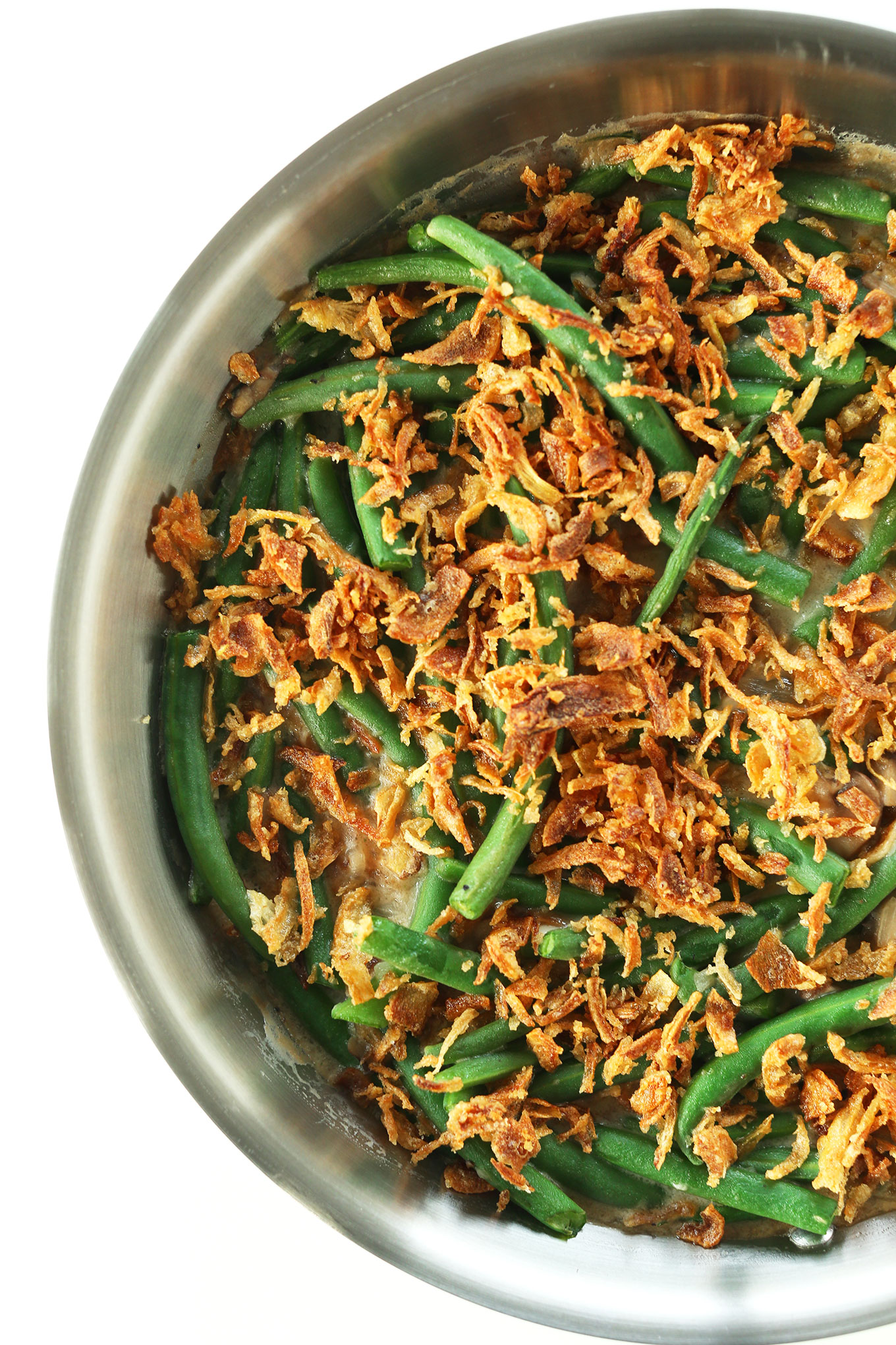 Delicious Vegan Green Bean Casserole in a skillet