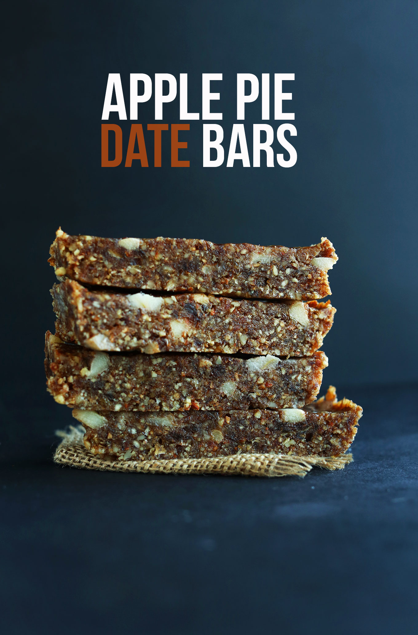 Apple Pie Date Bars stacked up for a healthy gluten-free vegan snack